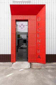Rina Lovko Studio creates austere interiors for Kiev's Dicentra flower shop - Modern Entrance Design, Facade Design, Door Design, Exterior Design, Sign Design, Shop Fronts, Minimalist Interior, Amazing Flowers, Industrial Signage