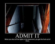 Admit it.  This is why Im glad my basement light switch is not in my basement.