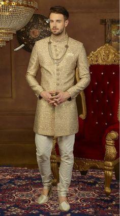 BuyHandsome High Neck Collar Style Sherwani for Party with Stone and Golden Bead Work. Beige Sherwani is Jodhpuri Style Sherwani. Wedding Dresses Men Indian, Wedding Dress Men, Wedding Attire, Sherwani Groom, Wedding Sherwani, Red Lehenga, Lehenga Choli, Indian Groom Wear, Achkan