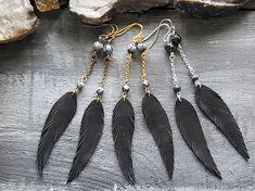 Feather earrings. Black long earrings. Dangle and drop