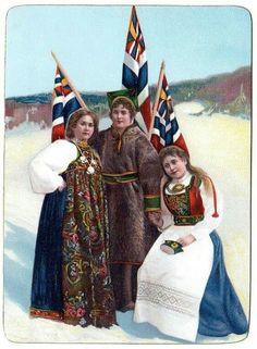 Damer med bunad og unionsflagg. 1905?