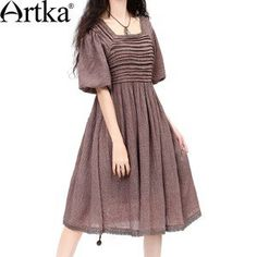 Artka Women'S Summer Vintage Fashion Square Collar Short Lantern Sleeve Empire Waist Full Hemline Solid Chiffon Dress LA10132C
