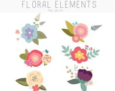Flower Clip Art Hand drawn Flower Blooms by Thelittleclouddd