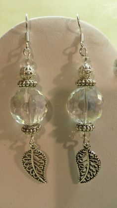 Romantic Crystal Drop Leaf Earrings by ArtisticDesignsKS on Etsy, $5.99