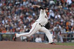 Giants' pitcher Ryan Vogelsong throws in the first inning during game 2 of the NLCS at AT Park on Monday, Oct. 15, 2012 in San Francisco, Calif.