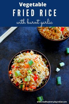 Tasty Fried Rice, Garlic Fried Rice, Vegetable Fried Rice, Indian Food Recipes, Asian Recipes, Vegetarian Recipes, Cooking Recipes, Healthy Recipes, Ethnic Recipes