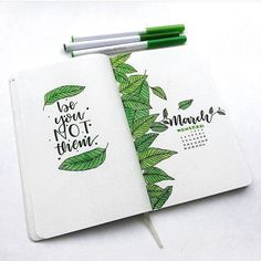 Bullet journal monthly cover page, March cover page, leaf drawings, hand lettering. | @bulletjournalshowcase
