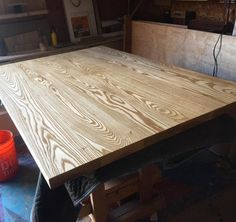 First coat is on the ash table top #makeitrain...