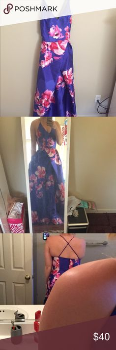 Floral Royal Blue Prom Dress It's a beautiful dress-  - I'm 5'7 and it hits the top of my feet  so if shorter might be a perfect fit or even need to be hemmed byby Dresses Prom