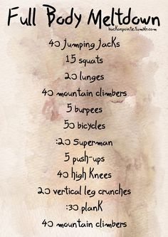 Full Body Meltdown. This is an intense but quick workout so I like it!