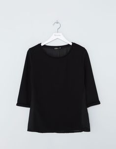 T-shirt BSK tissus combinés - T- Shirts - Bershka Algérie