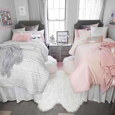 Sasha Stripe Comforter and Sham Set – Twin/Twin XL Pink Ombre Comforter Set – Full/Queen Dorm Bedding Set Dorm Room Designs, Girl Bedroom Designs, Design Room, Girls Bedroom Decorating, Girly Bedroom Decor, Diy Bedroom, Bathroom Designs, Interior Design, Design Design