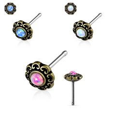 """2pc /""""L/"""" bend Nose Stud Ring PRONG Opal GOLD Plated Over Surgical Steel 20g"""