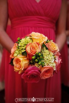 Coral wedding flowers - bridesmaid bouquet.#yellow #coral #pink #green #flowers #wedding #roses #hydrangea #berries