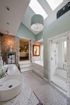 Amazing earthy bathroom.