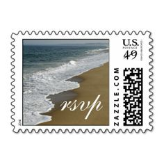 Beach Wedding RSVP Postage Stamp