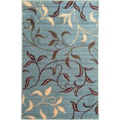 Ottomanson Ottohome Collection Sage Green/ Aqua Blue contemporary Leaves Design Modern Area Rug (8'2 x 9'10)