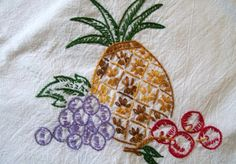 Hand Embroidered Towel Flour Sack Towel by VintagePlusCrafts, $10.00