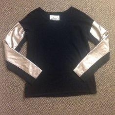 Aiko black sweater w/ metallic sleeves Beautiful sweater! Like new! Aiko Sweaters Crew & Scoop Necks
