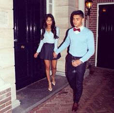 5bd10bddcd32 Baby Blue Navy Blue Dinner Party Bow Tie Asian Couple Love Relationship  Goal Matching Swag His