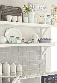 Love the tile, countertop, shelves, decor, LOVE IT ALL!!