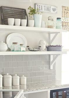 Love the tile, countertop, shelves, decor, LOVE IT ALL!!
