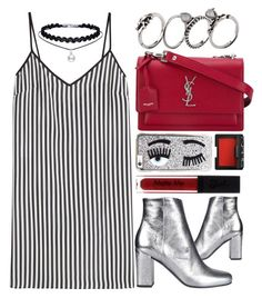 """""""Tokyo"""" by monmondefou ❤ liked on Polyvore featuring Yves Saint Laurent, Chiara Ferragni, NARS Cosmetics, Marco de Vincenzo, black, red and Silver"""