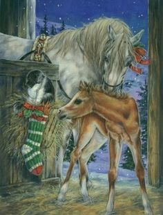 Christmas Horses ~ by Donna Race - (rustic, rural, farm, animals, xmas, art, illustration)