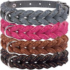 CollarDirect Leather Braided Dog Collar Handmade Black Brown Pink Gray Puppy Small Medium Neck Fit 17  21 W 1 18 Brown -- Check this awesome product by going to the link at the image.Note:It is affiliate link to Amazon.