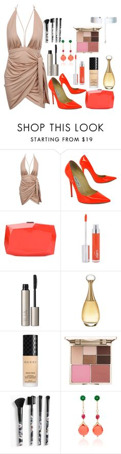 """Untitled #291"" by iina3 ❤ liked on Polyvore featuring Jimmy Choo, Monique Lhuillier, Zelens, Ilia, Christian Dior, Gucci, Stila, Torrid, Hanut Singh and Accessorize"
