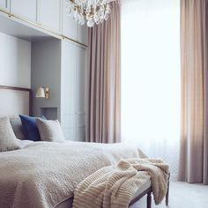 The dream. Sunday mornings in a stunning bedroom with luxurious sheets and blankets. Photo by E Design, Interior Design, Beige Curtains, Above Bed, Tyga, Dream Bedroom, Beautiful Interiors, House, Furniture
