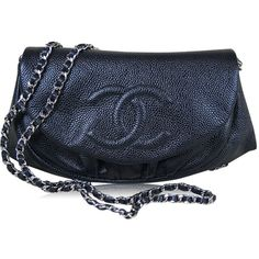 02fa4cce82 Chanel Black Caviar Half Moon Wallet On A Chain Woc Clutch Bag found on  Polyvore Chanel