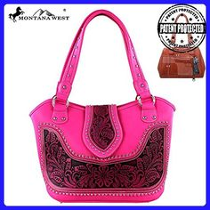 Concealed Carry, Tooled Tote in New Summer Colors by Montana West®(Hot Pink) - Shoulder bags (*Amazon Partner-Link)
