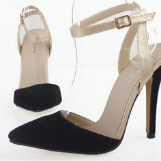 Black Ankle Strap Pointed Toe Sling Back Red Heels #heels #shoes #pumps #highheels