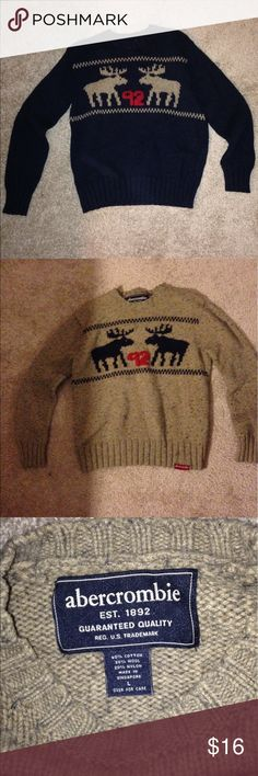 Boys lot of 2 Abercrombie Sweaters w/ moose Boys lot of 2 Abercrombie sweaters with moose design size large. Both in great shape but I did wash them together and the tan one got blue pills all over it but still looks ok. Kind of gives it a blueish look lol. Abercrombie & Fitch Shirts & Tops Sweaters