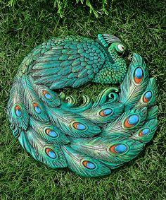 This Green Peacock Stepping Stone is perfect! #zulilyfinds