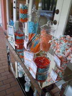 dessert table orange and blue candy station bridal shower