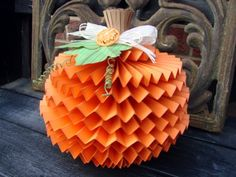 The Kraft Journal: Watch us Wednesday with Audrey Pettit: Fall Decor Tutorial, Lavishly Layered Pumpkin use the cricut rosettes cart for this idea makes a dang cute pumpkin----great ideas for centerpiece! Thanksgiving Crafts, Fall Crafts, Decor Crafts, Holiday Crafts, Holiday Fun, Crafts For Kids, Pumpkin Crafts, Diy Pumpkin, Cute Pumpkin