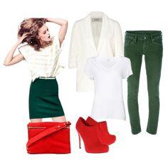 С чем носить красные ботильоны: зеленые джинсы