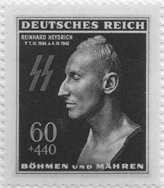 Postage stamp from Bohemia and Moravia showing the death mask of Reinhard Heydrich.