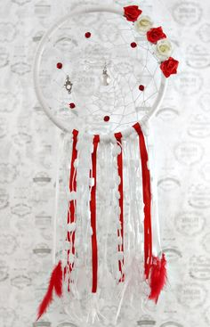 Atrapasueños Dreamcatcher Shabby chic Red and white flowers