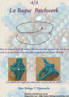 Beading ___ Bead Weaving ___ FREE Tutorial ___ How to Make Patchwork Motif Ring ___ Part 04/04 ___ Pics and Pattern with Diagram ___ Posted by FLYMOUCHE