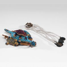 Sioux Beaded Hide Umbilical Turtle Fetish and Beaded Drop (4/4/2014 - American Indian Art: Live Salesroom Auction)