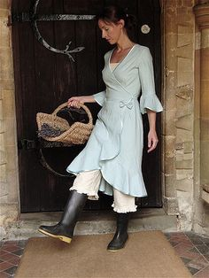 Linen Wrap Dress and Bloomers