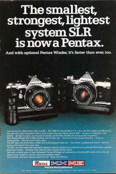 35mm slr camera ad Pentax taking a swipe at Olympus