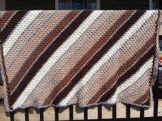 Diagonal Striped Afghan shades of brown black by HemmerHomeGoods, $10.00