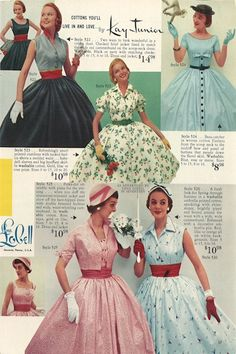 Lana Lobell summer dresses, 1955. Store owner Boris Leavitt started the catalogs as the mail-order arm of his shop, naming them them after his daughter, Lana Lobell. #1950s #patterns #vintage