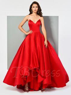 Sweetheart Pleats Sleeveless Ball Gown Asymmetry Evening Dress