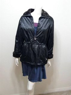 WOMEN ANDREW MARC fur trim coat jacket Petite PS PP Black #AndrewMarc #BasicCoat