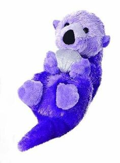 "8"" Aurora Plush Bright  Purple Sea Otter Seal Mini Flopsie Stuffed Animal Toy"